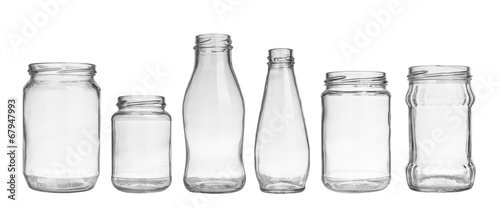 Leinwanddruck Bild set of empty jar isolated on white background