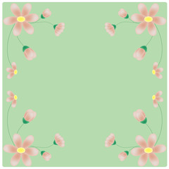 vector flowers on the green background