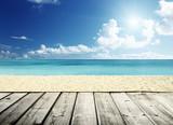 tropical beach and wooden platform