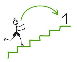 Strichmännchen Treppe Erster