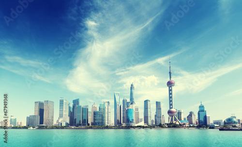 Shanghai skyline and sunny day