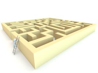3D human character climbing to maze
