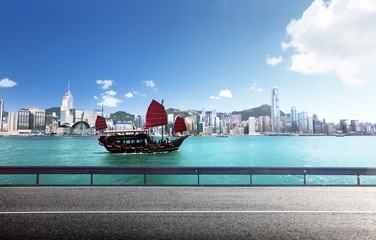 fictional road in Hong Kong harbour