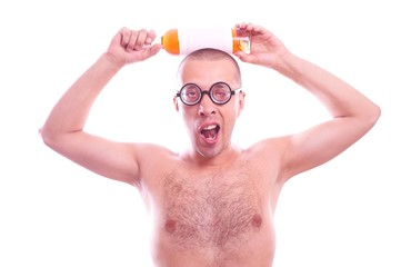 Drunk nerd guy in eyeglasses