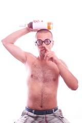 Drunk nerd in eyeglasses picking his nose