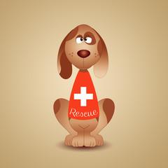 Illustration of rescue dog