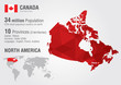Canada world map with a pixel diamond texture. - 67950593