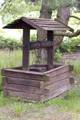 Old vintage wooden well