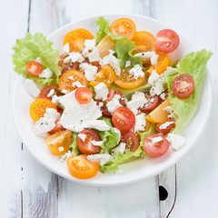 Vegetable salad with feta cheese on a glass plate, studio shot