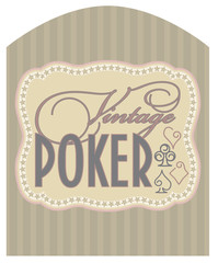 Casino vintage poker label, vector illustration