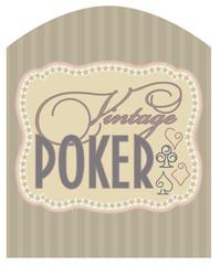 Casino vintage poker label, vector illustration