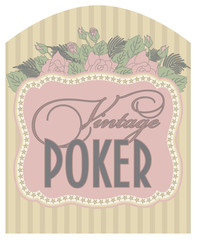Casino vintage poker card, vector illustration