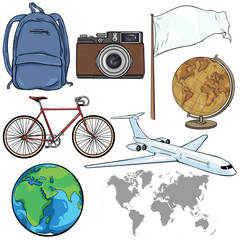 Vector Set of Travel Cartoon Objects and Signs