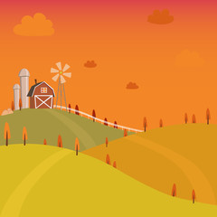 Vector of farm fresh sunset vintage style
