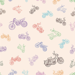 Seamless texture with mopeds
