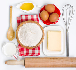 Baking ingredients collection, isolated on white