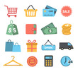 Shopping Icons in Flat Design Style