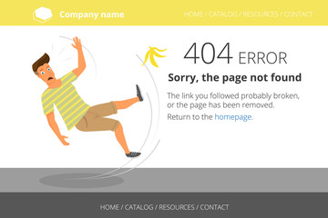 Man slipped on a banana. Page not found Error 404