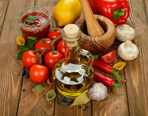 Olive oil, vegetables and spices