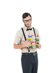 Geeky hipster holding an abacus