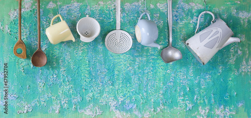 vintage kitchen utensils, cooking concept, free copy space - 67952704