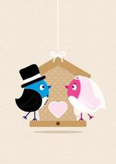 Wedding Couple Birds Birdhouse Beige Dots