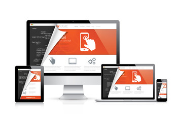 Modern web design computer developers coding workspace vector
