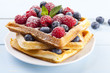 Homemade waffles with fruit - 67953356