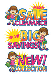 shopping girl sale discount.
