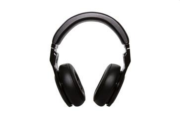 black head phone on white isolated background