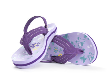 Kids violet beach shoes flip-flop isolated on white