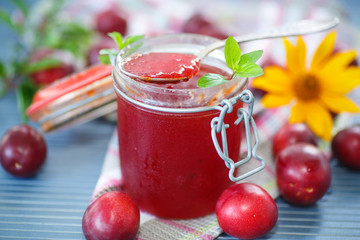 cherry plum jam with a bank