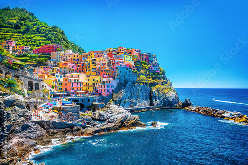 Foto Spatwand Mediterraans Europa Beautiful colorful cityscape