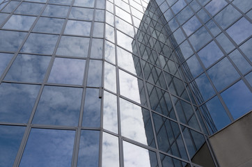 Glass facade of an office building in Scheveningen, Netherlands.
