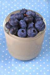 Blueberry in a bowl on blue dotted cloth