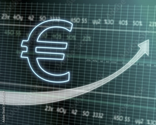 canvas print picture Euro symbol on stock market graph
