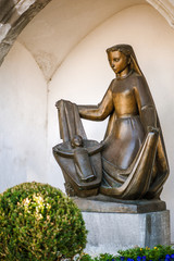 Bronze statue of woman with child, Vaduz