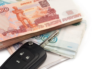 car key and russian money