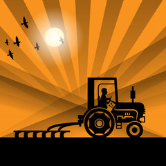 Tractor working, vector
