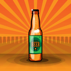 Beer bottle, vector