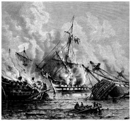 Burning Ships - Incendie de la Flotte - end 18th century