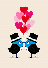 Wedding Birds Gay Men Heartballoons Beige
