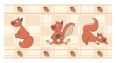 Border for wallpaper with squirrels