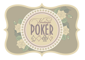 Old casino poker card, vector illustration