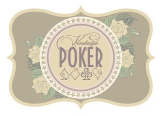 Old casino poker card, vector illustration