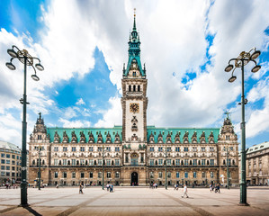 Hamburg town hall with dramatic cloudscape, Germany
