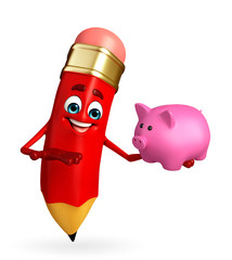 Pencil Character with piggy bank