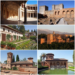 set of photos from Alhambra, Granada, Spain