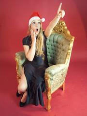 Überraschte Weihnachtsfrau Weihnachten Verrückt