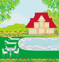 house with swimming pool - illustration
